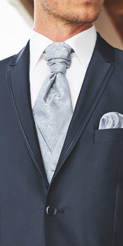 Abito cerimonia tutto incluso Wilvorst slim blu notte con panciotto a contrasto 81101/32