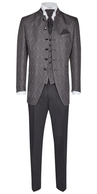 Abito cerimonia tutto incluso Wilvorst slim giacca lunga collo coreano riflessi argento 41204/23