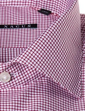 Camicia sartoriale Xacus slim tessuto a quadretti collo mezzo francesce