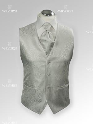 Panciotto cerimonia Wilvorst slim grigio perla damascato con plastron coordinato