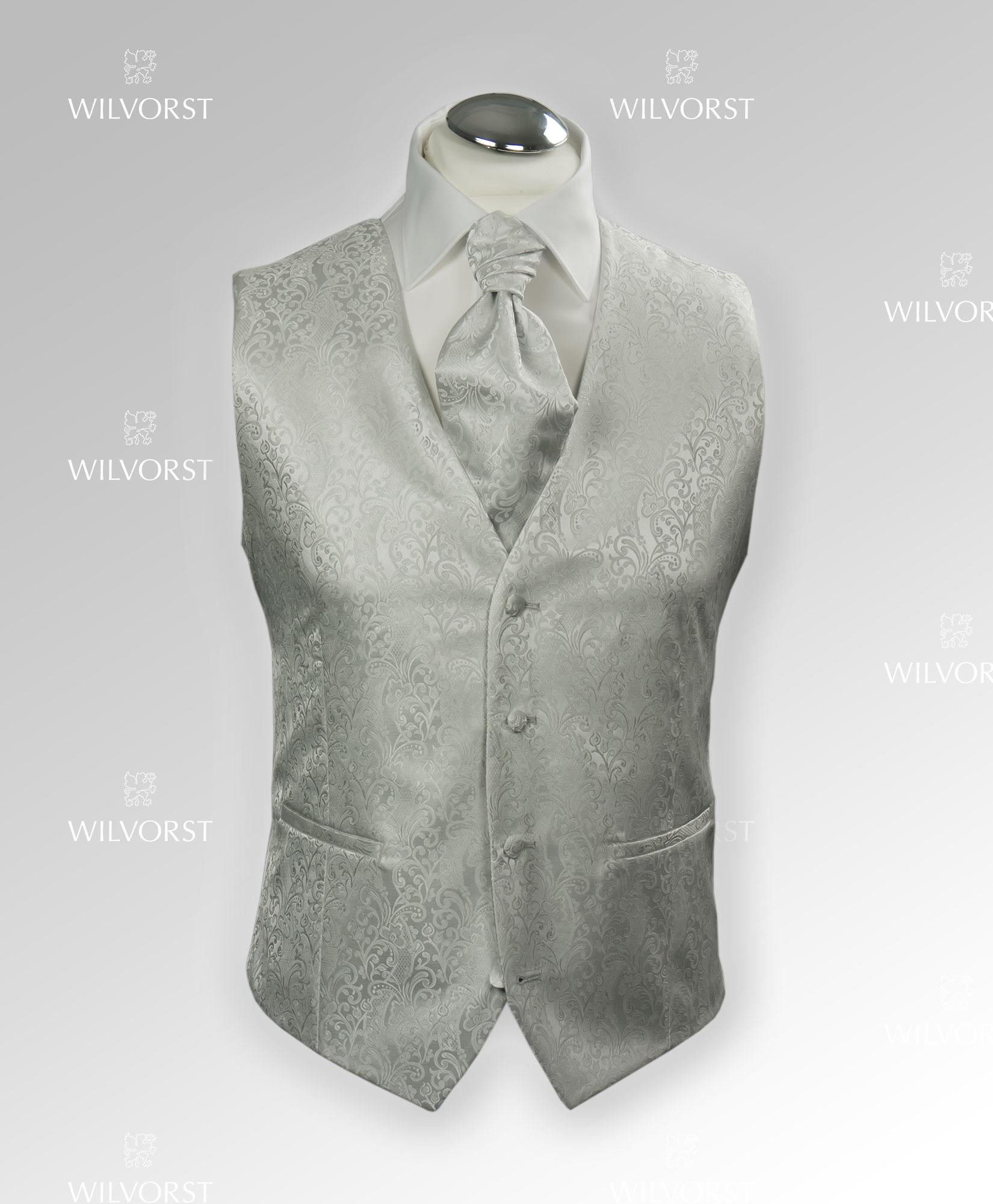 cerimonia Wilvorst slim grigio perla damascato con plastron coordinato