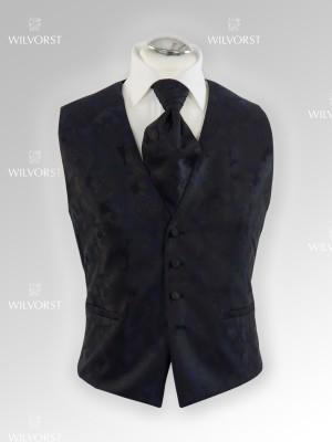 Panciotto cerimonia Wilvorst slim blu damascato con plastron coordinato