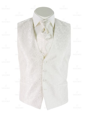Panciotto cerimonia Wilvorst slim bianco damascato con plastron coordinato