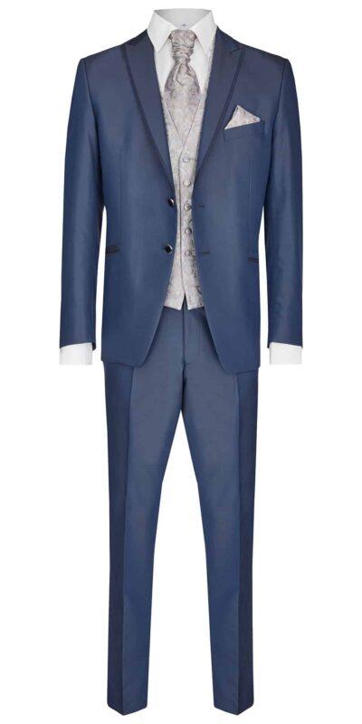 Abito cerimonia tutto incluso Wilvorst slim blu con bordino lucido 63100/34