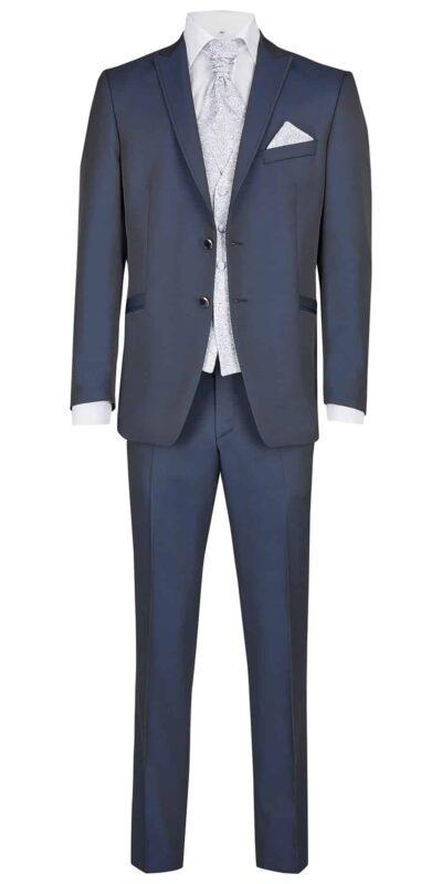 Abito cerimonia tutto incluso Wilvorst slim blu con panciotto damascato 51200/321