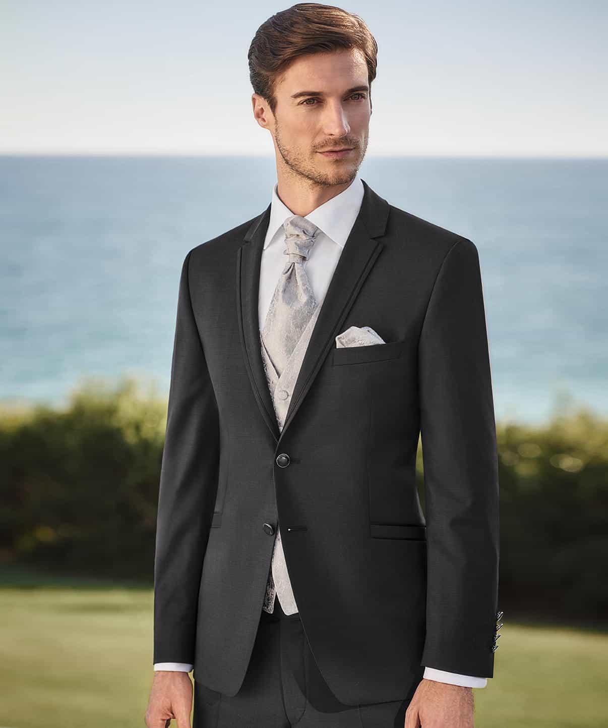 estremamente unico fashion design seleziona per autentico Abito cerimonia tutto incluso Wilvorst slim nero con panciotto damascato  41200/10