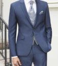 Abito cerimonia tutto incluso Wilvorst slim blu con panciotto in contrasto 81100/34