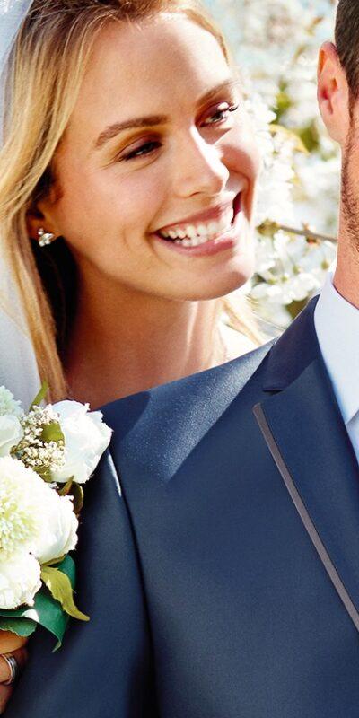 Abito cerimonia tutto incluso Wilvorst slim blu con bordino a contrasto 53202/34