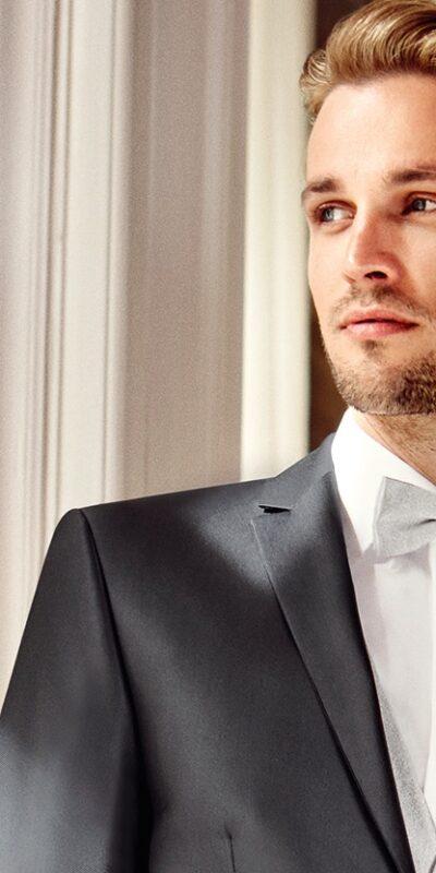 Abito cerimonia tutto incluso Wilvorst slim grigio scuro con panciotto perla 53100/20