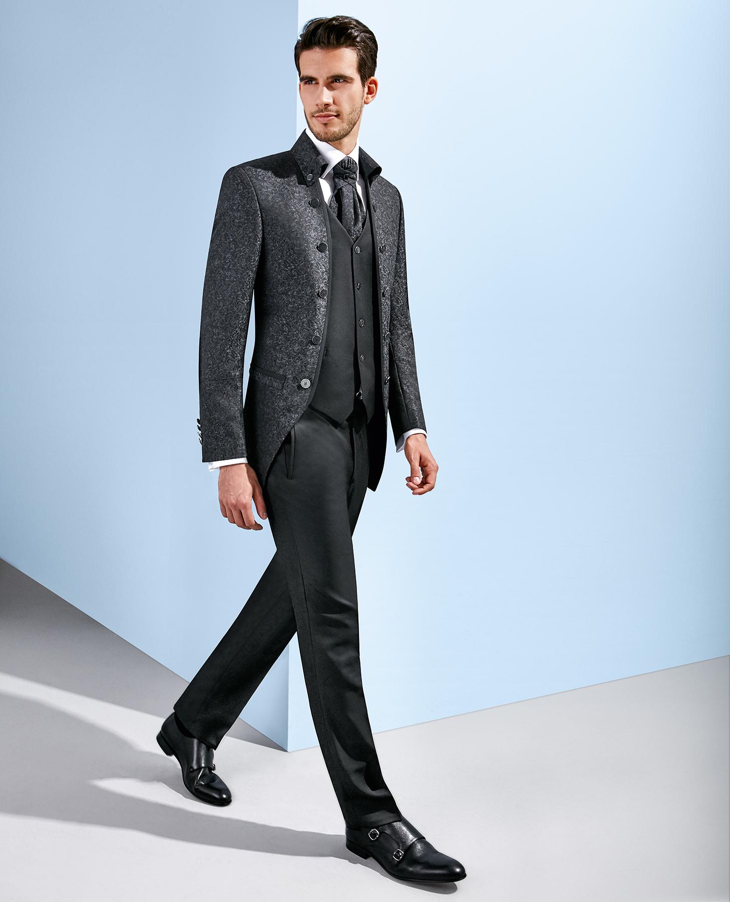 Abito Matrimonio Uomo Grigio : Abito cerimonia tutto incluso tziacco slim grigio damascato stile