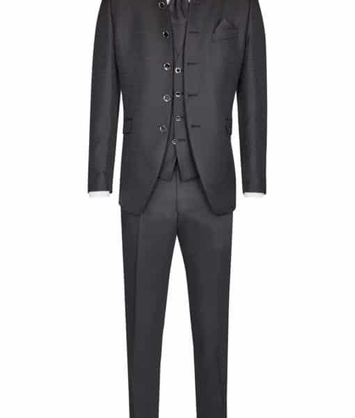 Abito cerimonia tutto incluso Wilvorst slim nero giacca damascata stile impero 51102/10