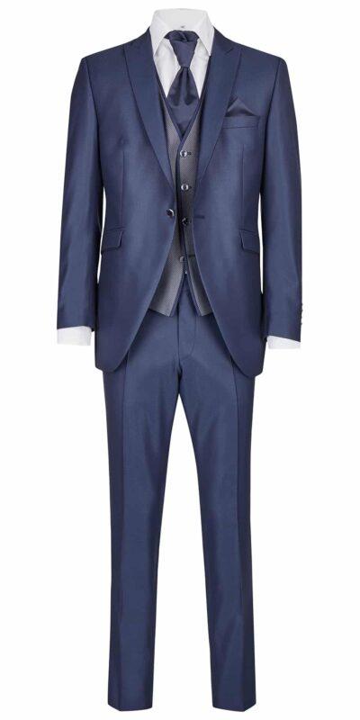 Abito cerimonia tutto incluso Wilvorst slim blu tessuto lavorato 81103/32